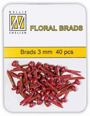 Nellie`s Choice Floral brads Glitter Rood