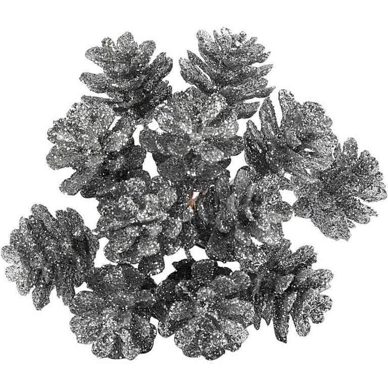 Kunst denneappels, d: 20 mm, zilver, 12stuks