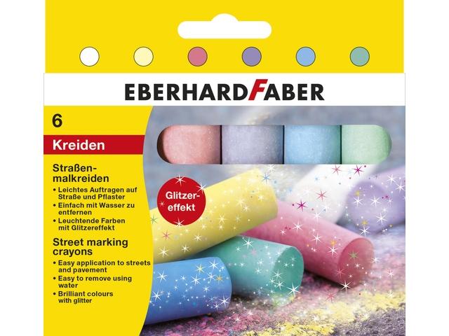 Stoepkrijt GLITTER kleuren | doosje met 6 stuks