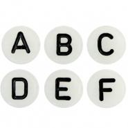 Letter kraal wit met zwarte letters
