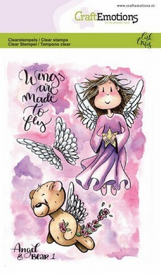 CraftEmotions stempel A6 | Carla Creaties | Angel & Bear 1