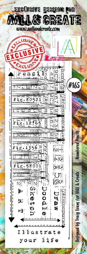 AALL & Create Border stamp #165 - Numbered Pencils