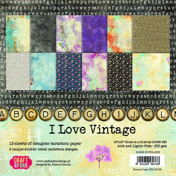 Craft & You | Paperpad 12 x 12 inch - I love Vintage