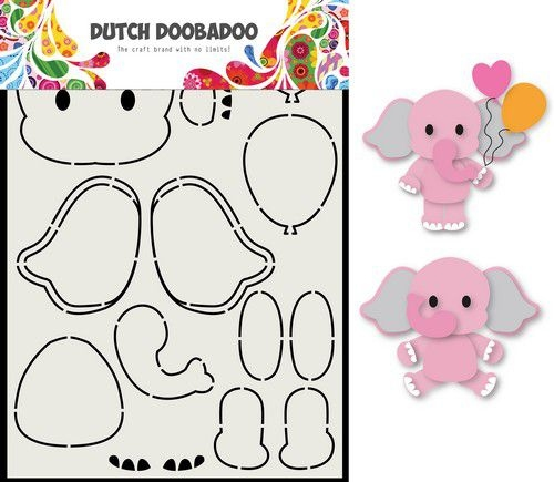 Dutch Doobadoo Card Art Olifant A5