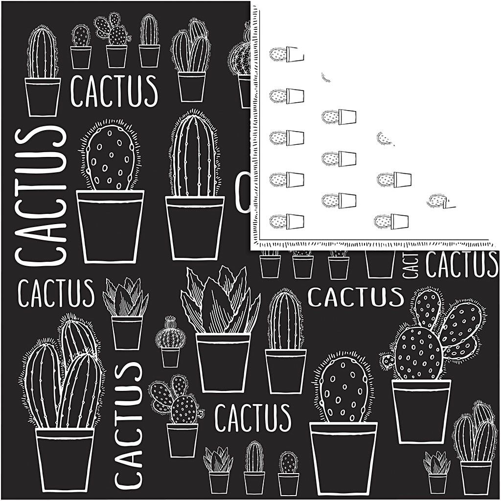 Scrap Design papier, Cactus - zwart wit design