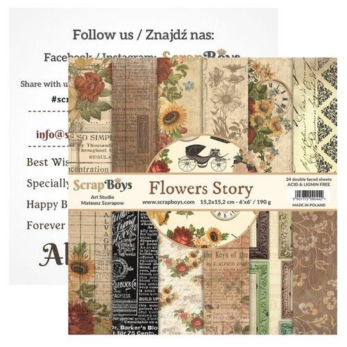 """Scrapboys   Flowers Story Paperpad 12""""x 12"""""""
