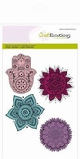 CraftEmotions clearstamps A6 - hand, bloem ornament per stuk