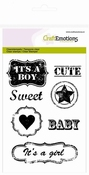 clearstamps A6 - vintage baby tekst labels (ENG) Lovely Bab Per stuk