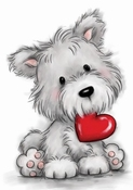 Wild Rose Dog with Heart