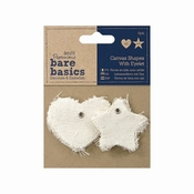 Canvas Shape with eyelet (6pk) - Star / Heart