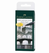 Faber Castel set - 6 Pitt artist Pens brush - shades of grey
