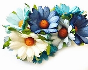 Mulberry Paper Chrysanthum - Chrysant BLauw / Wit