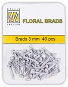 Nellie`s Choice Floral brads Glitter Wit