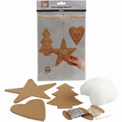 Faux Leather Kerstdecoraties, dikte 0,55 mm, Naturel 1set