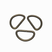Metalen D ring | 25mm | Bronskleur | 5 stuks