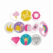 P13 | Decorative Tags Girl Gang | 11 stuks | rond ± 1,5inch