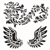 13 arts Mixed Media Stencil | Wings with Ornament