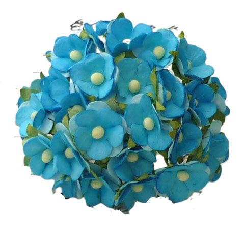 Mulberry Paper Flowers - Sweetheart blossom - 2tone Turquois