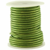 DQ Leer rond 3 mm Fern green metallic Per Meter