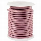 DQ Leer rond 3 mm Warm roze